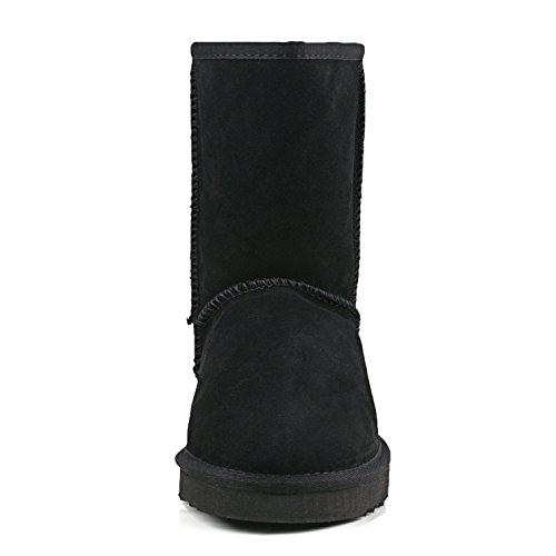 Black Shoes Leather Snow Women's Boots Shenduo Winter Warm Da5825 PY8wx