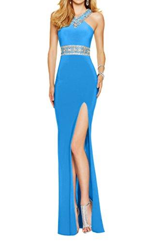 Steine Braut Partykleider mia La Abschlussballkleider Neu 2016 Chiffon Figurbetont Festlich Abendkleider Blau pqwwx