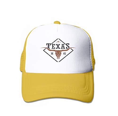 YILINGER Neutral Cotton Denim Adjustable Hat Men Women Texas State Print Longhorn Skull Design Stamp Label Typography Yellow