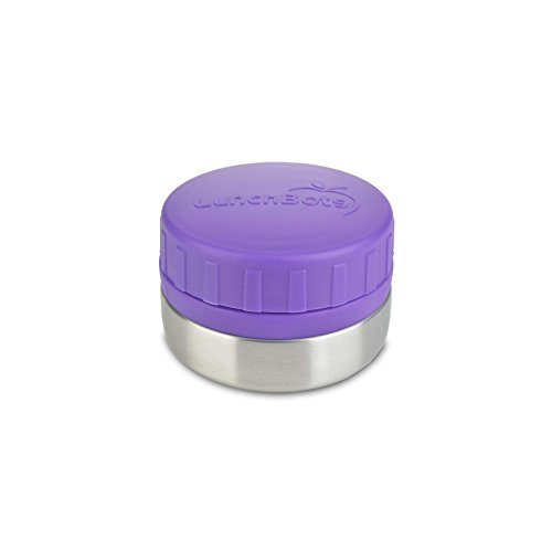 LunchBots Rounds Stainless Steel Food Container (4 oz) - Non-Insulated Leak-Proof Food Jar for Snacks, Dips, Fruits and Finger Foods - Eco-Friendly, Dishwasher Safe and BPA-Free - Purple by LunchBots
