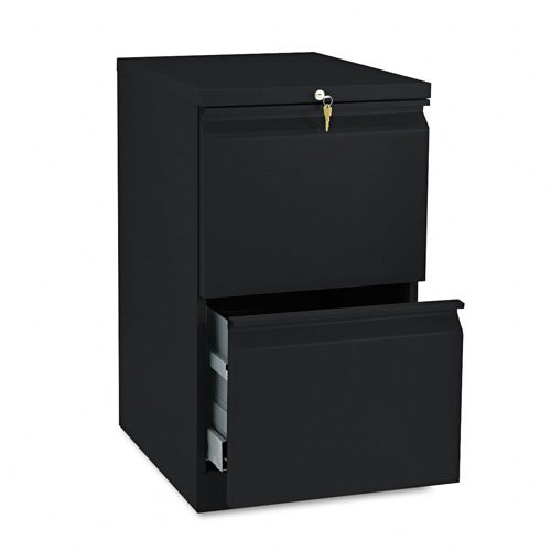 28 Quot Cabinets (HON Products - HON - Brigade Radius Pull Mobile Pedestal File, Two File Drawers, 19-7/8amp;quot; Deep, Black - Sold As 1 Each - Heavy-duty pedestals with radius pulls to complement BrigadeTM 800 Series Lateral Files. - High sides for front-to-back letter size filing. - Ball bearing suspensions on file drawer (90% extension) and box drawer (75%) extension. - HON amp;quot;One Keyamp;quot; interchangeable lock core. - Counterweight inhibits tipping when opening more than one drawer.)
