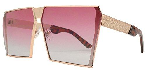 Vintage Oversized Sunglasses (Unisex Vintage Square Oversized Metal Frame Retro Brand Designer (Purple/Blue, 66))