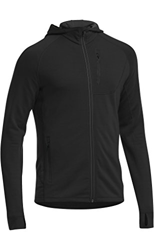 Icebreaker Men's Quantum Long Sleeve Zip Hood, Black, Medium