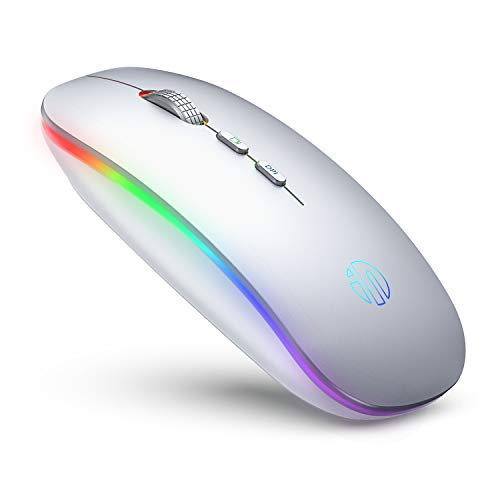 LED Wireless Mouse, Inphic Rechargeable Silent 2.4G Wireless Computer Mouse, USB Receiver,Durable, Backlit Cordless Mice for Laptop, PC,Mac