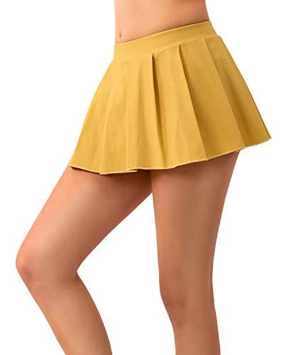 MYIFU Women Sexy Role Play Pleated Mini Skirt Solid Ruffle Lingerie Sleepwear (Yellow, XL)]()