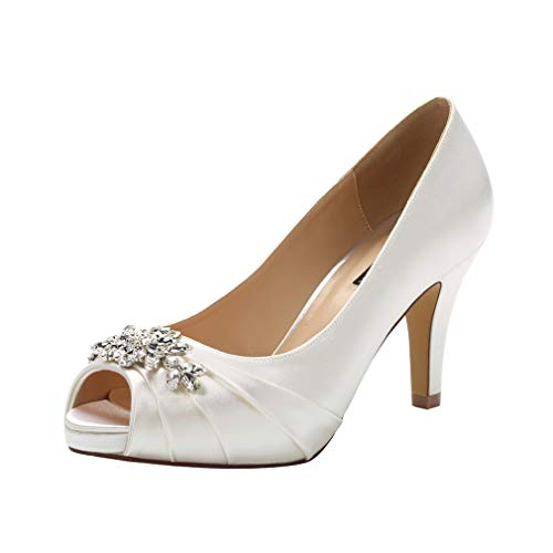 ERIJUNOR E0055 Peep Toe Mid Heels for Woman Rhinestones Satin Evening Prom Wedding Shoes Ivory Size 6.5