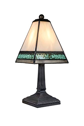- J Devlin Lam 696 TB Small Tiffany Style Stained Glass Miniature Table Lamp Ivory Aqua Blue and Clear with Filigree