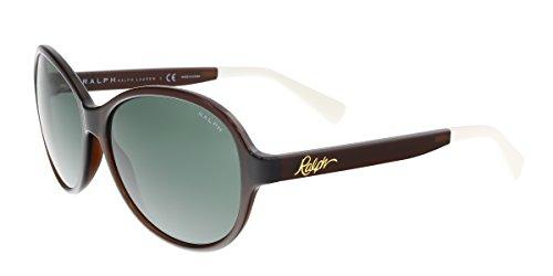 Ralph by Ralph Lauren Women's 0RA5192 Round Sunglasses, Brown,Green & Solid brown, 58 - Glasses Ralph Lauren Round
