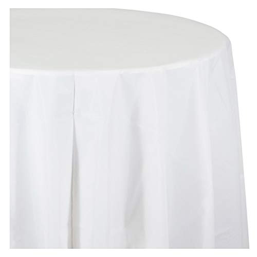 White Round Plastic Tablecloths, 3 ct