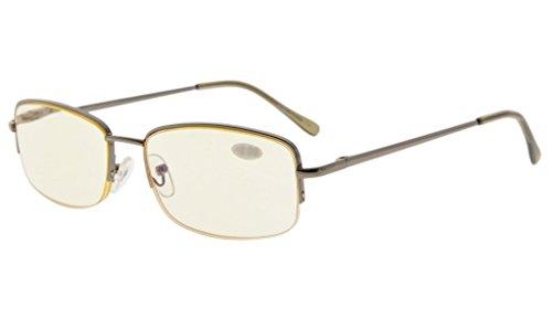 - Eyekepper Classic Metal Frame Half Rim Spring Temples Computer Reading Glasses Readers (Gunmetal, Yellow Tinted Lenses) +1.75