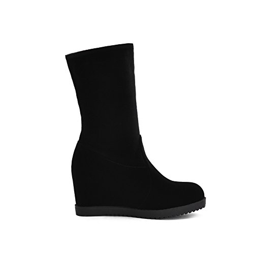 AgooLar Women's Pull-On Frosted Round-Toe High-Heels Solid Boots Black mAGBjcE