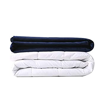 Image of HPUK Weighted Blanket, Twin Size for Adults, 15lb, 48 x72 inches, with Removable Velvet Cover and Premium Glass Beads Fit Full-Size Bed for Individual Between 140-180lb, 100% Cotton Outer Layer, Navy HPUK B07QC7NRHF Weighted Blankets