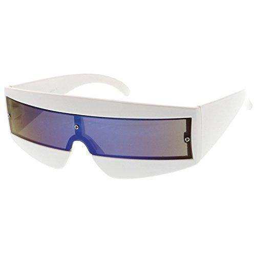 Futuristic Robot Costume (sunglassLA - Futuristic Wide Temple Colored Mirror Mono Lens Shield Sunglasses 68mm (White / Blue Mirror))