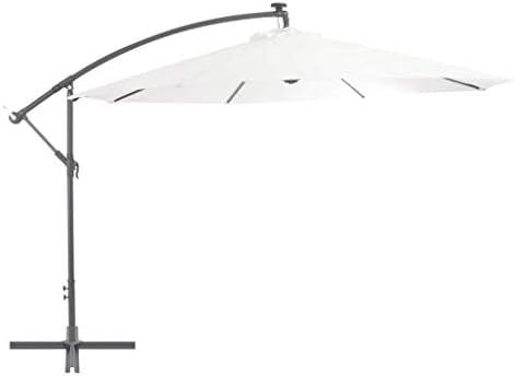 CHHDガーデンパラソルカンチレバーの傘とLEDライトと金属柱350 cm砂の家の庭芝生の庭屋外の生活屋外の傘サンシェード