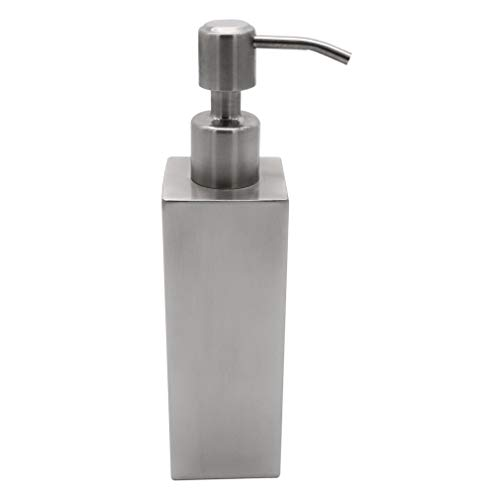 BESy Premium Stainless Steel Liquid Soap & Lotion Dispenser Pump, Square Refillable Soap Dispenser for Kitchen or Bathroom Countertop, Brushed Nickel (200 ml)