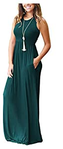MOLERANI Women's Sleeveless Loose Plain Maxi Dresses Casual Long Dresses with Pockets