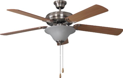Litex E-DCF52BNK5C1 Decorator's Choice 52-Inch Ceiling Fan with Five Reversible Light Maple/Mahogany Blades and Single Light Kit with Alabaster Glass