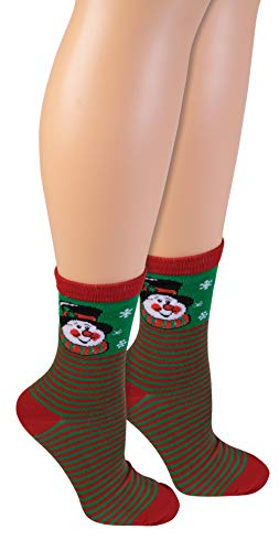 Forum Women's Ugly Christmas Ankle Socks, Snowman, One Size