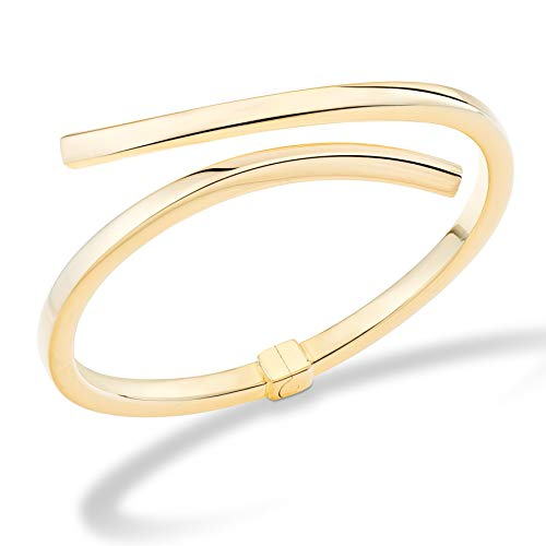 MiaBella 18K Gold Over Sterling Silver Italian Bypass Hinged Bangle Bracelet Jewelry for Women 7.25 inch