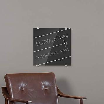 16x16 CGSignLab Slow Down Children Playing 5-Pack Basic Black Premium Brushed Aluminum Sign