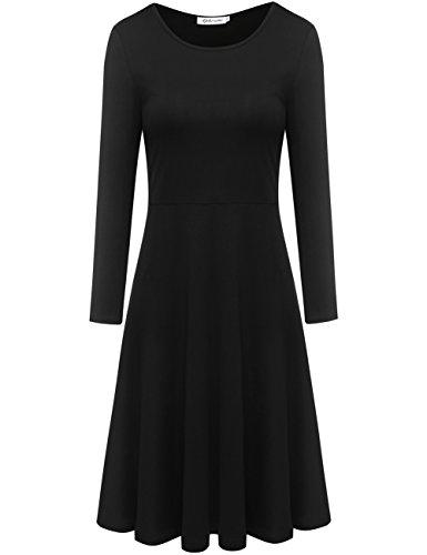 Aphratti Women's Long Sleeve Crew Neck Casual Flare Midi Dress Black Medium
