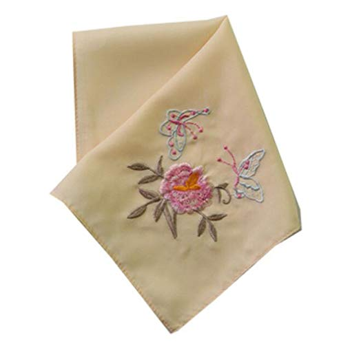 Chinese Handkerchiefs Embroidery (Set of 2 Chinese Style Ladies/Women's Embroidered Handkerchiefs, Pattern-17)