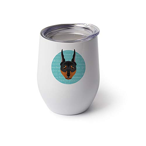 Mystic Sloth Adorable Dog Breed Specific 12oz Stainless Steel Stemless Wine Glass WITH LID (Doberman Pinscher, - Glass Dog Wine Breed