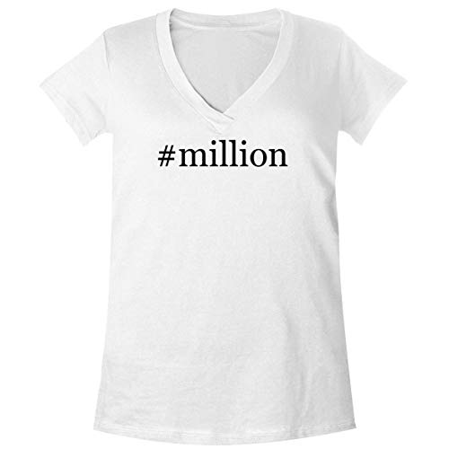 The Town Butler #Million - A Soft & Comfortable Women's V-Neck T-Shirt, White, XX-Large
