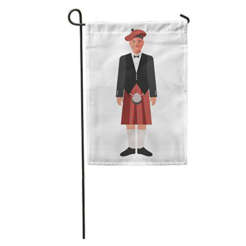 Semtomn Garden Flag Flat Scotsman in Red Kilt Skirt and Black Jacket Adult Home Yard House Decor Barnner Outdoor Stand 28x40 Inches Flag ()