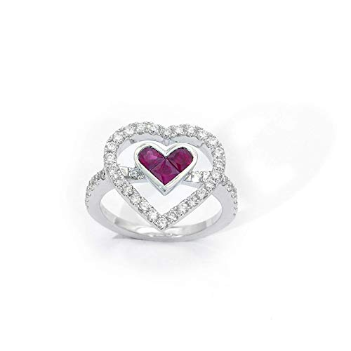 - 18k white gold Ruby Heart Shaped Invisible setting Diamond Ring