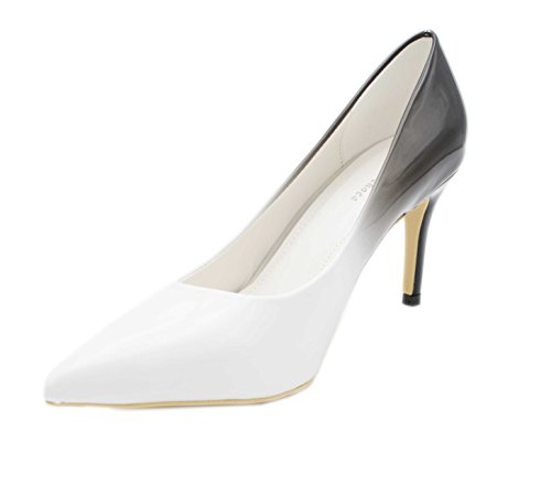 Fashion Shoes, Damen Pumps Blanc/Noir(8cm)