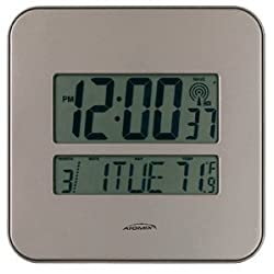 Chaney Instruments 00582 Camden 8 Digital Atomic Wall Clock with Date and Indoor Temperature