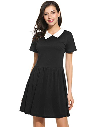 Short Sleeve black dresses for women peter pan collared dresses (L, Black) -