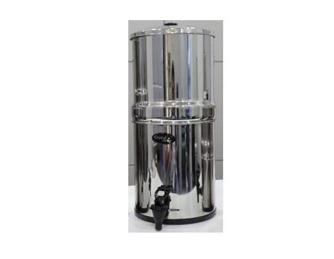 Crystall Drop Stainless Steel Water Filter with 2 9-inch AquaCera Cerasyl Plus Ceramic Candles - Now with FREE Filter Stand, FREE Circular Cleaning Brush and FREE Cleaning (Ceramic Circular Brush)