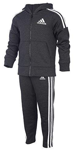 adidas Boys' Tricot Jacket and Pant Set (3T, BM Black/White/Black)