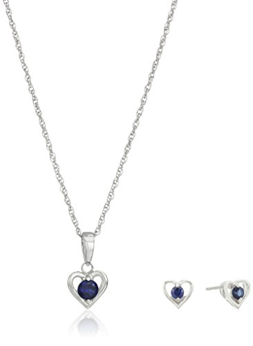 Girls' Petite Sterling Silver Created Blue Sapphire Open Heart Stud Earrings and 16