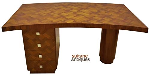 Sultaneantiques - Large Parquetry Art-Deco Style Desk Rosewood