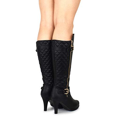 Boot Mid Heel Trendy Premier Black Women's Standard Premium Fashion xYqEEvgw