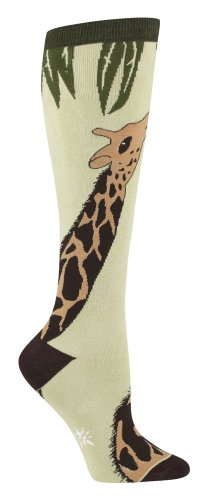 Giraffe Womens Knee Socks, Light Green one size fits most