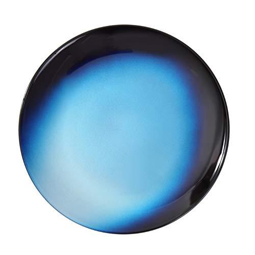 Syosaku Japan Urushi Glass Flat Dinner Plate Φ11-inch Gradation Blue, Dishwasher Safe (Blue Chop Plate)