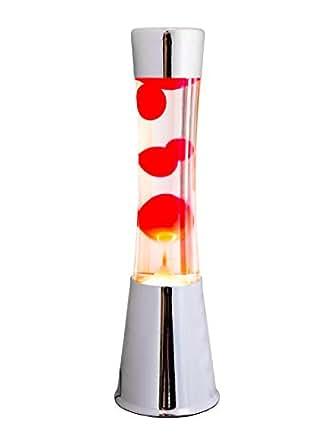 Fisura LT0322 Lámpara Grande de Lava Magma con Liquido Rojo | Lámpara de Lava Original Color Plateado Cromado, 40 cm