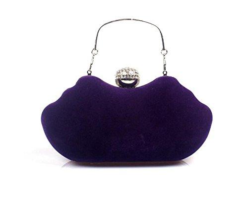 Schulter Hochzeit nbsp; Handtasche Kleid purple Frauen Clutch WBAG Taschen Abendgesellschaft Samt nbsp; qwnTUzB