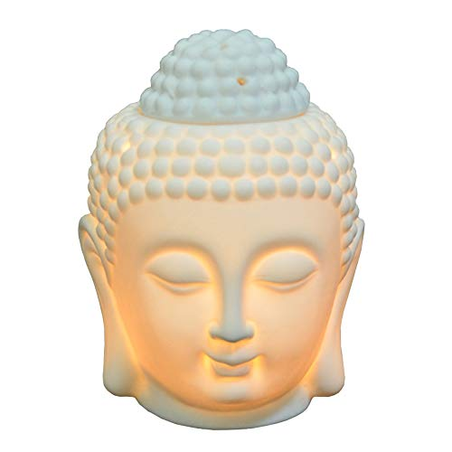 Ceramic Statue Buddha Head (Buddha Head Statue Oil Burner Translucent Ceramic Aromatherapy Diffusers Home Decor (White))