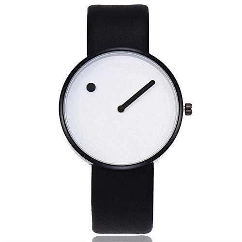 b047a01ea73d Reloj Unisex Minimalista Punto Raya de Cuarzo y Correa de Cuero Blanco y  Negra  Amazon.es  Relojes