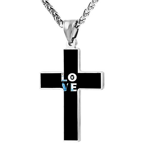 Fgfio Love Dental Hygienist Fashion Printed Cross Necklace Cross Prayer Christ Necklace Pendant 24 Inch Crucifix Pray Ornaments Unisex