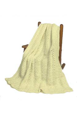 """Feather and Fan Baby Blanket Afghan"" Knit Kit with Encore Worsted Yarn – Creamy White"