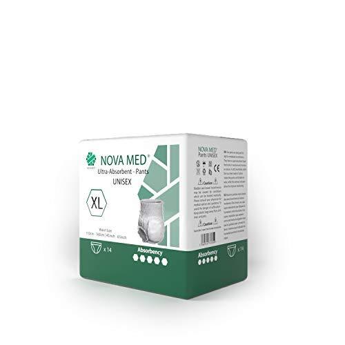 Novamed - Panales para incontinencia, para adultos, bragas para adultos, tamano XL, 2150 ml de absorcion, (1 paquete de 14 unidades)