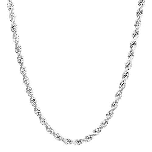 NYC Sterling Unisex Sterling Silver 3.5MM Diamond-Cut Rope Chain Necklace (16