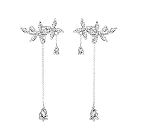 SLUYNZ 925 Sterling Silver Leaves Wrap Earrings Crawler for Women Dainty Flowers Threader Tassel Earrings Chain (Color 1)