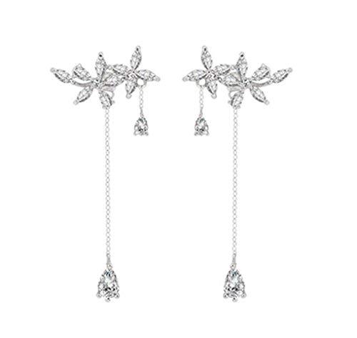 SLUYNZ 925 Sterling Silver Leaves Wrap Earrings Crawler for Women Dainty Flowers Threader Tassel Earrings Chain (Color ()